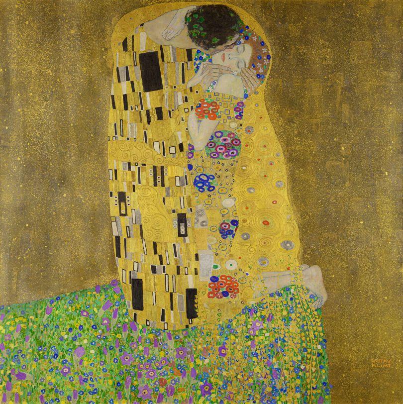 Gustav Klimt (1862–1918) The Kiss, 1908, oil and gold on canvas. Autrian Gallery Belvedere, Vienna, Austria. Image licensed via Adobe Stock