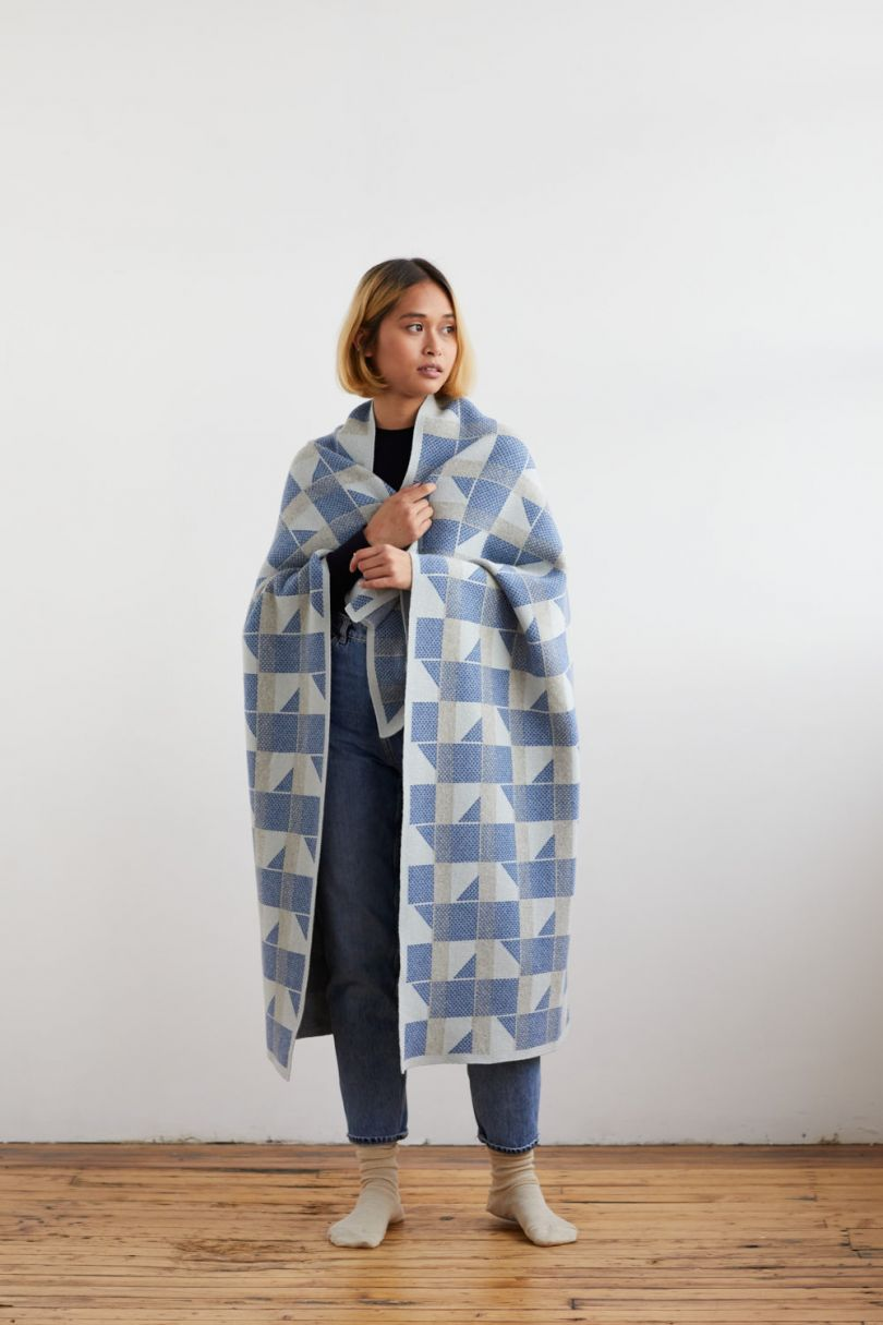 Flock small blanket in birch and French blue by Hilary Grant