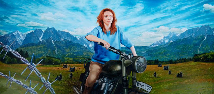 Eleanor Tomlinson as Hilts 'The Cooler King' from The Great Escape Oil on Canvas 135 x 60cm