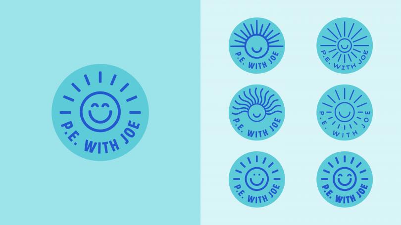 Some of the final logo development, alongside the final design on the left