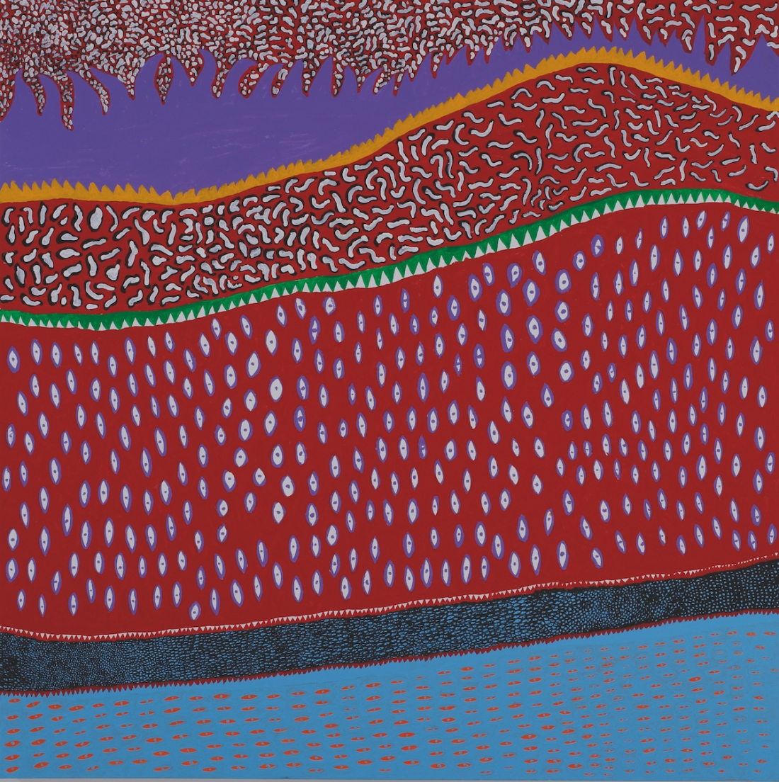 Yayoi Kusama, Lights Of The Heart, 2016, acrylic on canvas, 194 x 194 cm. Picture credit: artwork © Yayoi Kusama (page 181)