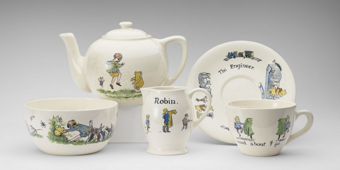 Christopher Robin ceramic tea-set presented to Princess Elizabeth, hand-painted, Ashtead Pottery, 1928 Photograph: Royal Collection Trust/© Her Majesty Queen Elizabeth II 2017