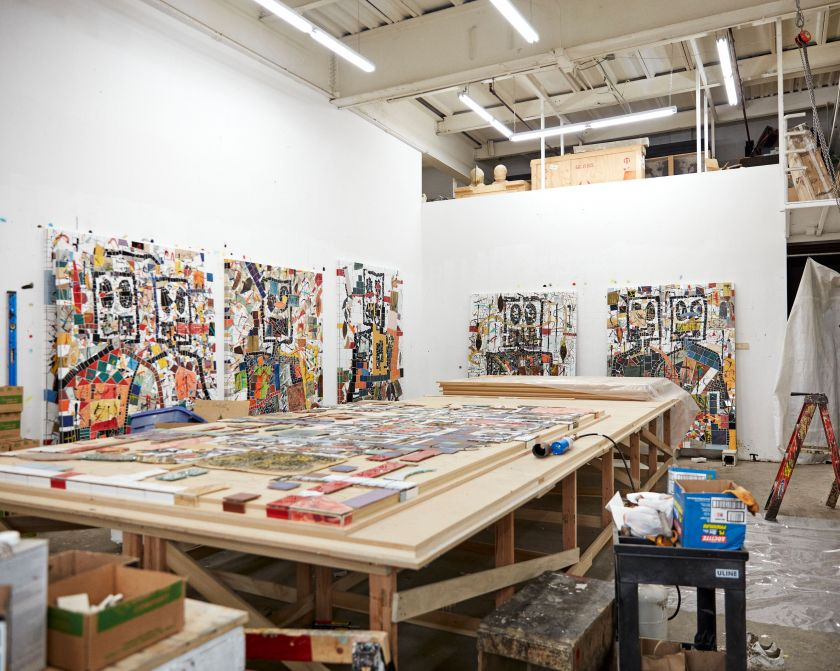 Rashid Johnson in the studio  2020  © Rashid Johnson  Courtesy the artist and Hauser & Wirth  Photo: Axel Dupeux