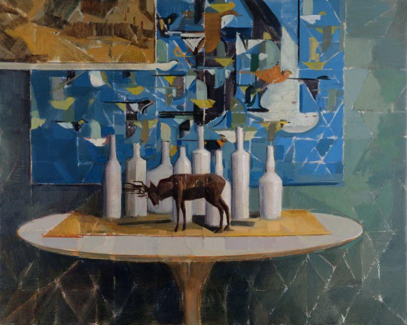 Blue Harper, Oil on Canvas, 24