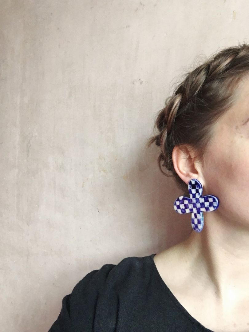 Giant checkerboard earrings by [Margo Studio](https://margojewellery.bigcartel.com/product/giant-checkerboard-studs). Priced at £45