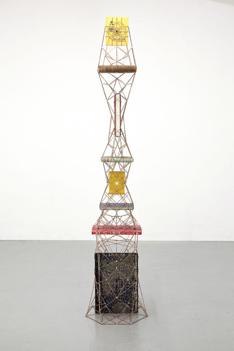 Leonardo Ulian, Atlas 02 - The Observer (2014), Copper Wire, Micro Chips and Books, 181x36x41cm