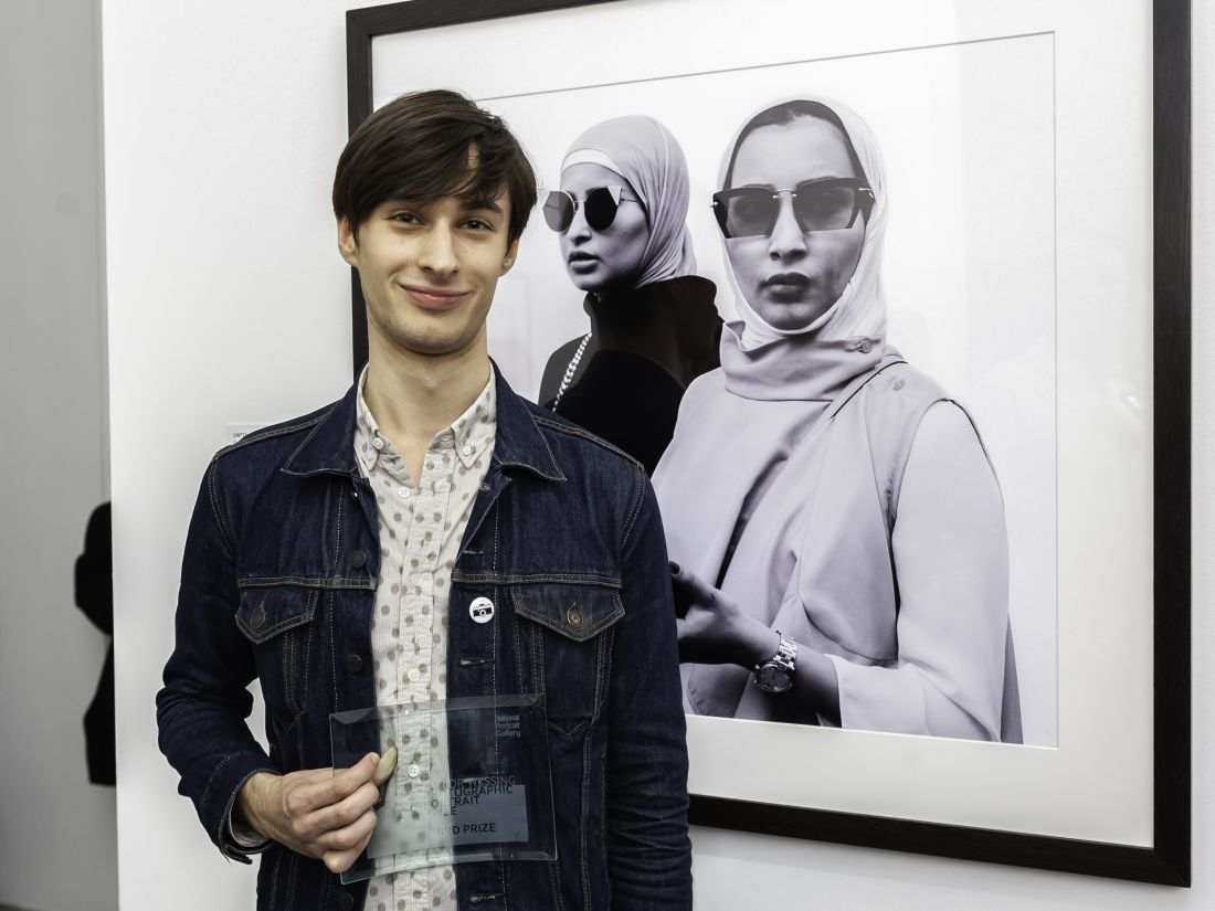 Joint third prize winner Max Barstow with his portrait. Photograph by Jorge Herrera