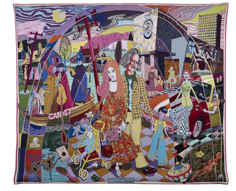 Grayson Perry, A Perfect Match, 2015, Tapestry 290 x 343 cm 114 1/8 x 135 1/8 in Published by Paragon © Grayson Perry. Courtesy the artist, Paragon | Contemporary Editions Ltd and Victoria Miro, London
