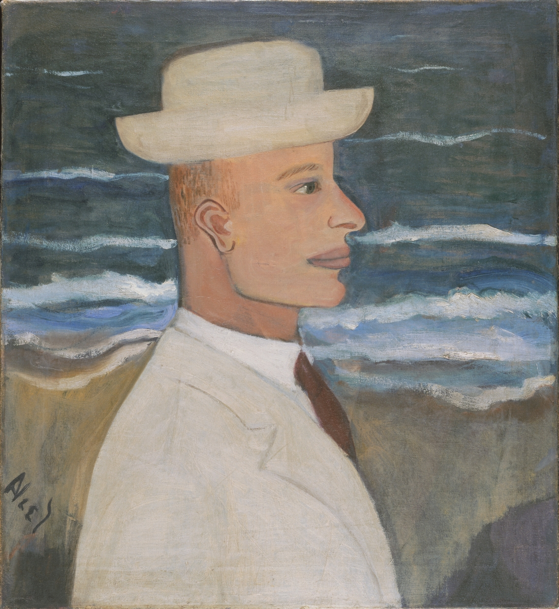 Portrait of John with Hat, 1935, by Alice Neel, American, 1900 - 1984. Oil on canvas, 23 1/2 x 21 1/2 inches. Philadelphia Museum of Art: Gift of the estate of Arthur M. Bullowa, 1993-119-2