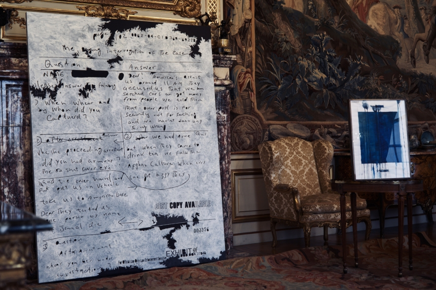 Exhibition View: Question Answer , 2014 Secret 9 , 2017. U.S. government documents SOFTER: Jenny Holzer at Blenheim Palace , Blenheim Palace, Woodstock, UK, 2017 © 2017 Jenny Holzer, member Artists Rights Society (ARS), NY Photo: Edd Horder
