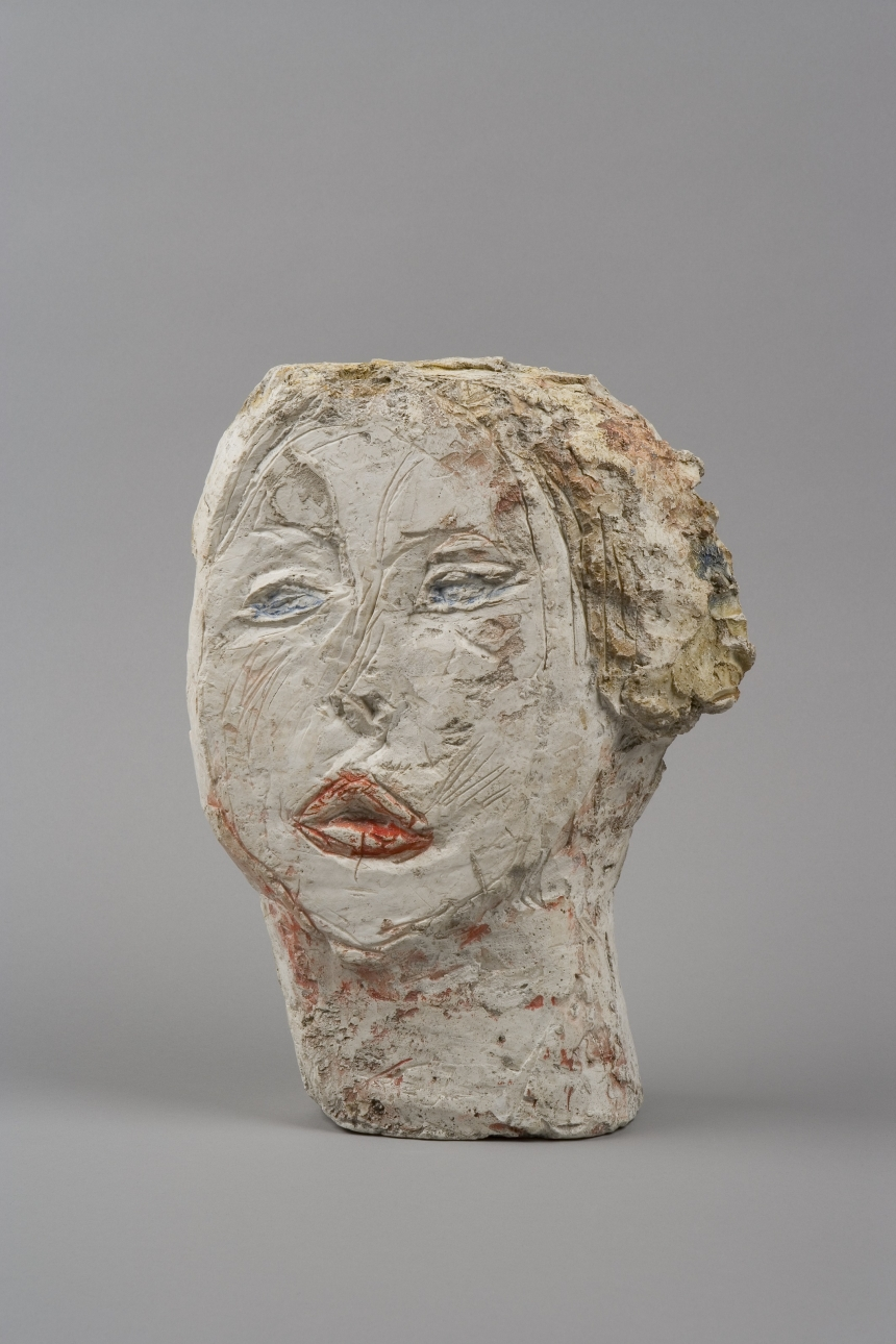 Head of Woman [Flora Mayo] 1926 Painted plaster  31.2 x 23.2 x 8.4 cm Collection Fondation Alberto et Annette Giacometti, Paris © Alberto Giacometti Estate, ACS/DACS, 2017