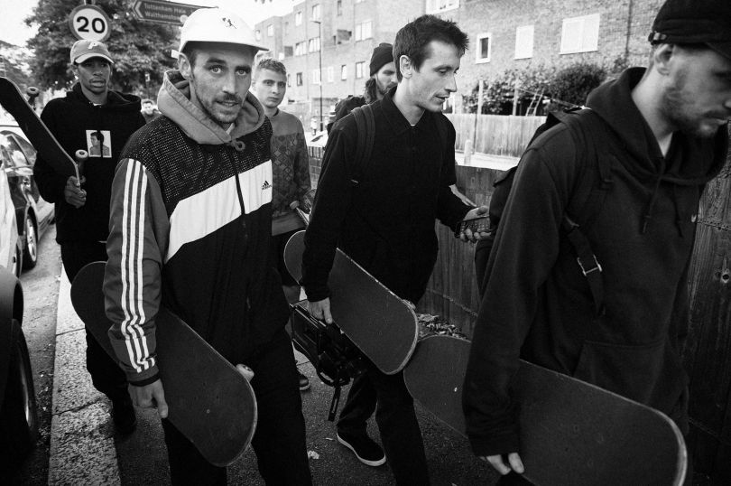 Mike O'Meally, Palace Skate Team (Lucien Clarke, Chewy Cannon, Blondey McCoy, Jack Brooks, Danny Brady), Tottenham Hale, 2016