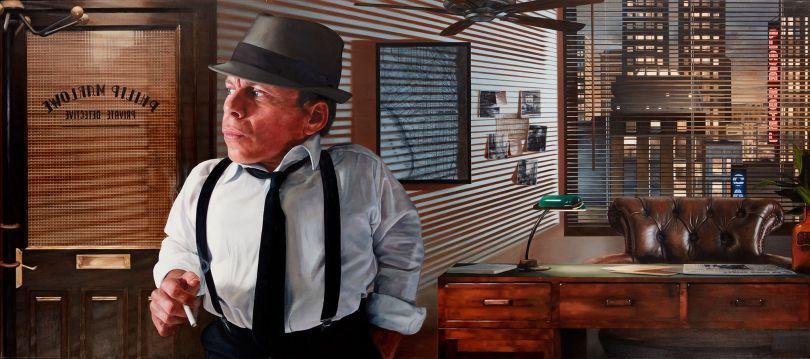 Warwick Davis as Raymond Chandler's Philip Marlowe Oil on Canvas 135 x 60cm