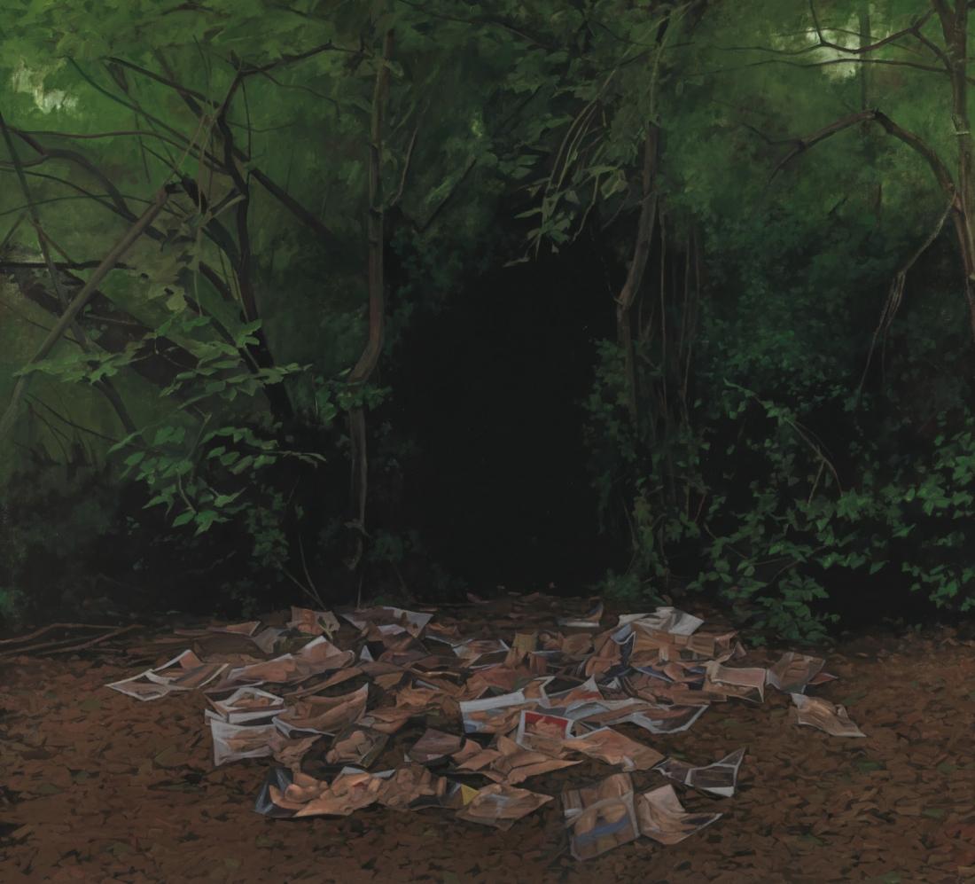 George Shaw, Möcht' ich zurücke wieder wanken, 2015-2016, Enamel on canvas, 178.5 × 198 cm. Credit: © Courtesy: The Artist and Wilkinson Gallery, London