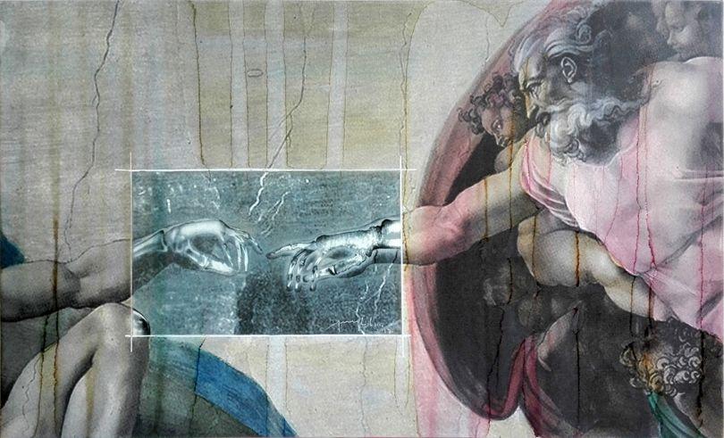 Grandi Maestri: Michelangelo, Creazione di Adamo, 2017 Alcohol on pigmented canvas. 60 x 99 cm (23.6 x 39.0 in)