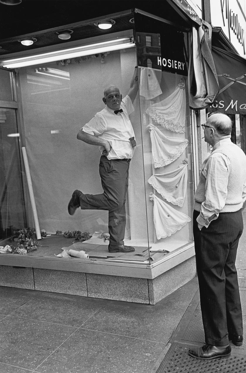 Window dresser striking a pose, 1960s
