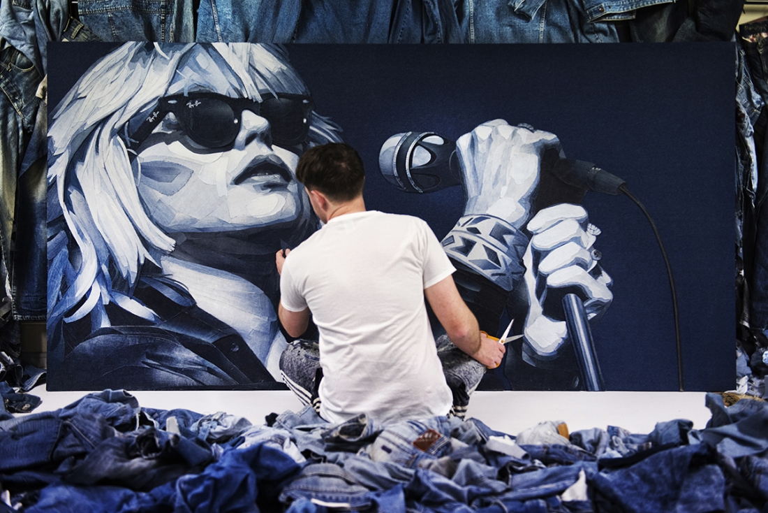 Artist Ian Berry Uses Scraps Of Denim Jeans As Paint To