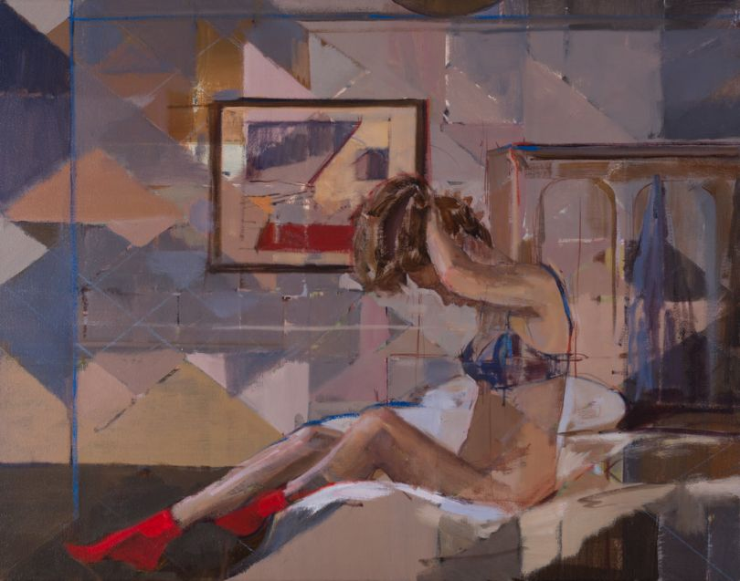 Tying, Oil on Canvas, 22