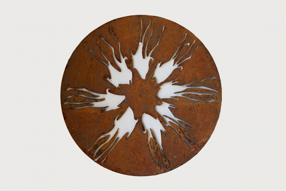 Shadow Dogs Circle, 3 ft across, photo by Tania Dolvers, courtesy of Hignell Gallery