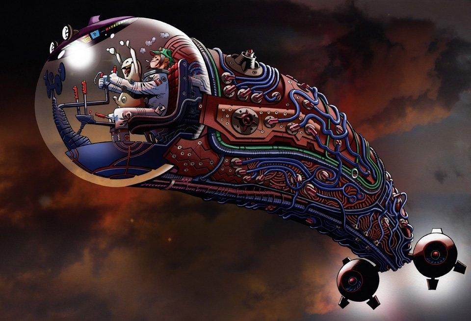 The Cock Rocket, 2015. Cover artwork for 21st Century Tank Girl | © Jamie Hewlett