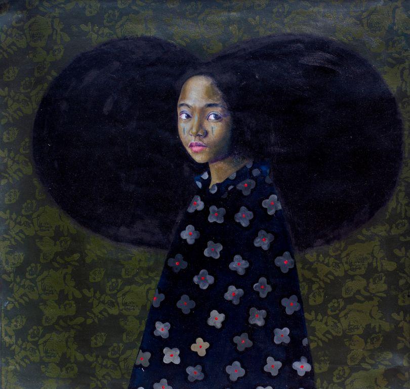 Oluwole Omofemi, 'Omonalisa II', Oil and acrylic on canvas, 121 x 121 cm, 2019. Courtesy Signature African Art
