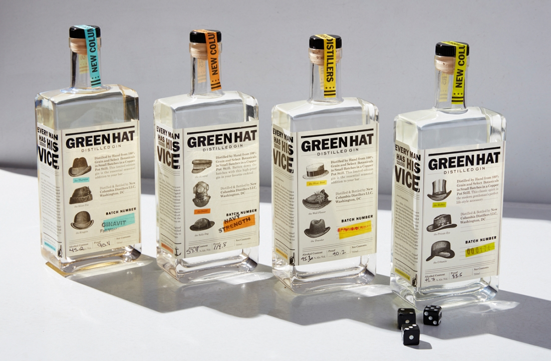 Green Hat Gin package design