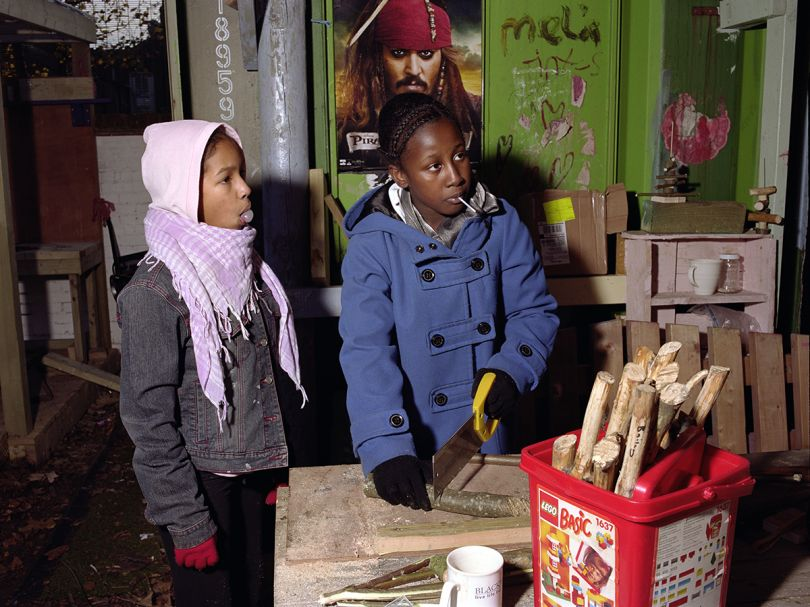 Mark Neville, 'Arts and Crafts at Somerford Grove Adventure Playground', 2011, courtesy Mark Neville and Alan Cristea Gallery
