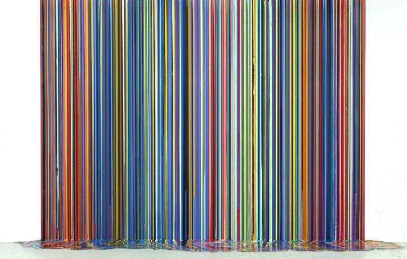 Ian Davenport Mirrored Place 2017 acrylic on stainless steel mounted on aluminium panel (with floor piece) 300 x 400 cm