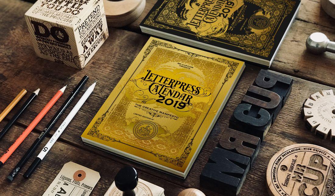 2019 Unique Calendars Mr Cup's elegant and unique letterpress calendar for 2019 in