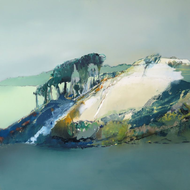 Hillside with Trees, oil painting 2020 © Elaine Jones