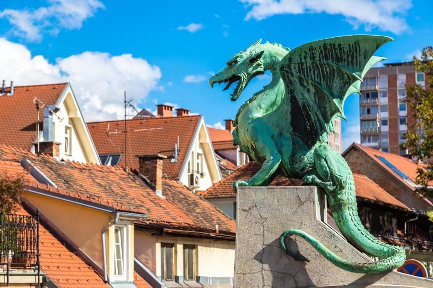 Famous Ljubljana Green dragon at Dragon Bridge, Slovenia