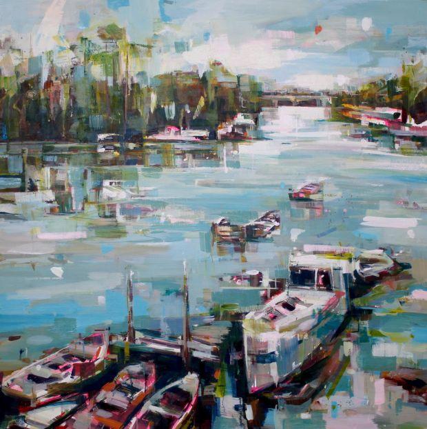 "Corporation Island"", oil on panel, 80 x 80 cm"