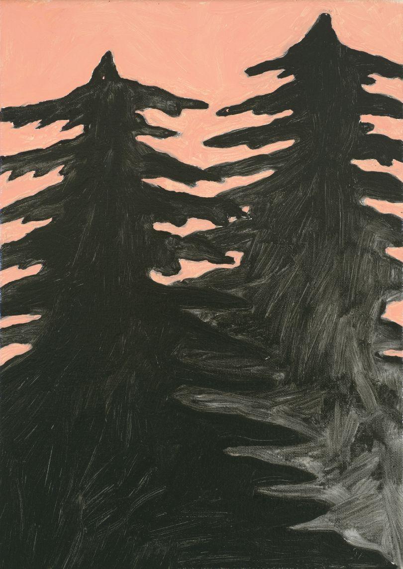 Pine Trees, 2018, oil on canvas, 35 x 25 cm