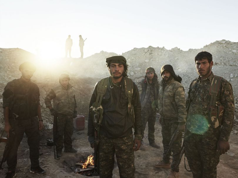 Arab and Kurdish members of People's Protection Units (YPG) in a frontline position. al-Hawl, Jazira Canton, Rojava, Syria, December 4, 2015. From [We Came From Fire](https://amzn.to/2L9l8Vm) by Joey L. – published by powerHouse Books