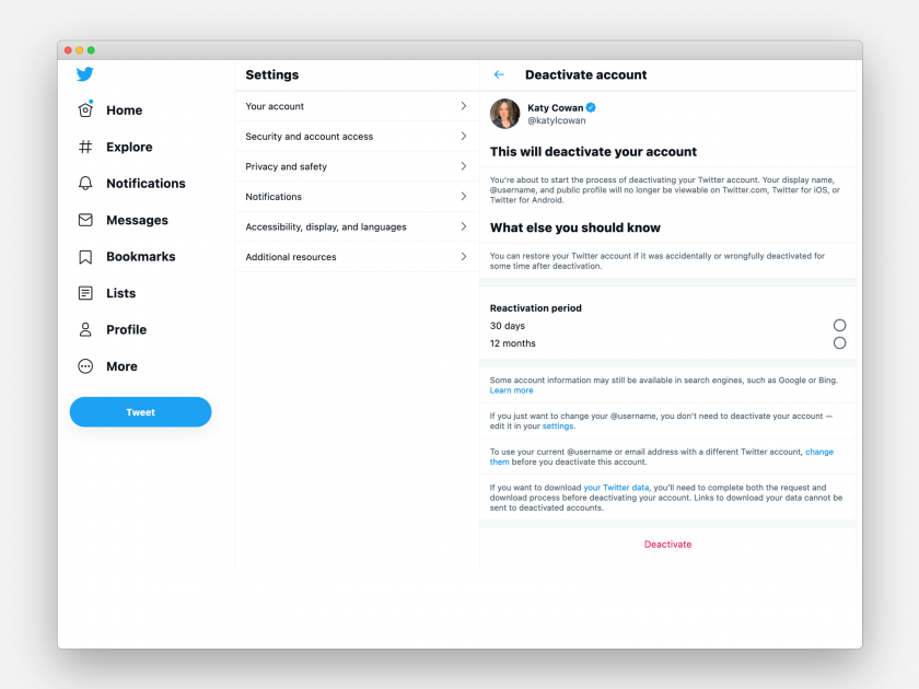 How to deactivate, then delete your Twitter account