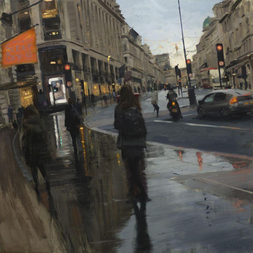 Regent Street in rain with Christmas lights © Tom Hughes