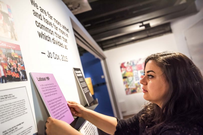 PHM CultureLabs Project Manager Abir Tobji, More in Common - in memory of Jo Cox exhibition at People's History Museum