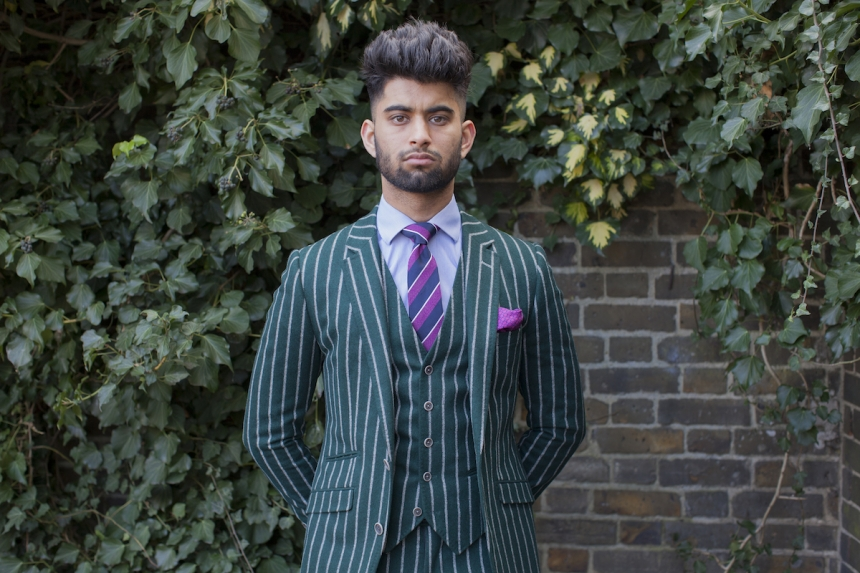 Mahtab Hussain Green chalk strip suit  from the series You Get Me? 2017 Courtesy of the artist