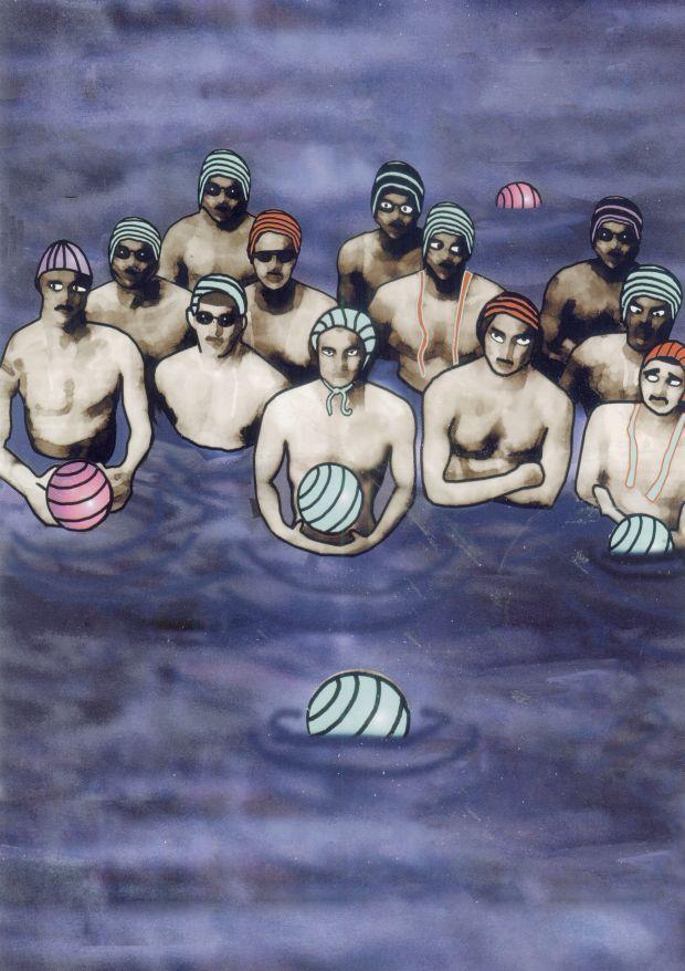 Aquatic Team (detail), computer manipulated acrylic on newspaper © Sylvia Libedinsky