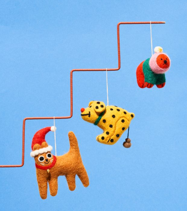 Felt wool decorations by Elliot Kruszynski, and Cari Vander Yacht via [Wrap](https://www.wrapmagazine.com/shop/hanging-decorations)