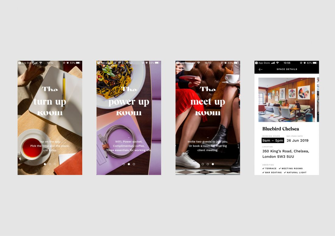 Dutchscot's identity for The Workroom, a new app that curates drop-in workspaces in restaurants