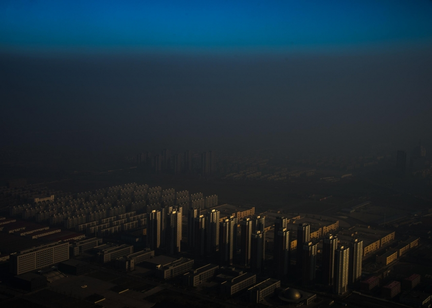 Contemporary Issues, first prize singles: A city in northern China shrouded in haze, Tianjin, China. Zhang Lei.