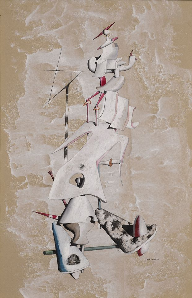 Yves Tanguy, La Grue des Sables,1946, Gouache on paper, 47.2 x 31.8 cm, Photo A.J Photographics Courtesy Olivier Malingue Gallery