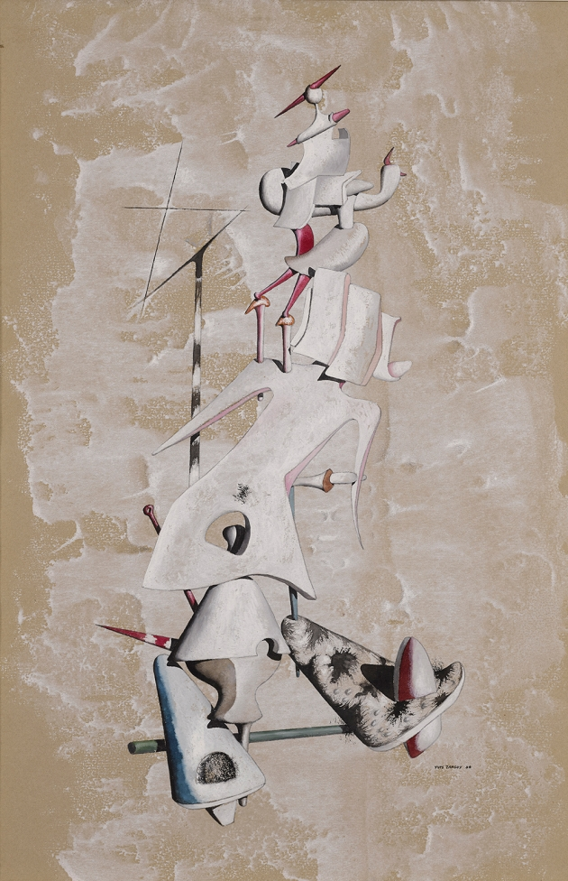 Yves Tanguy, La Grue des Sables,1946, Gouache on paper, 47.2 x 31.8 cm, Photo A.J Photographics Courtesy Olivier Malingue Gallery