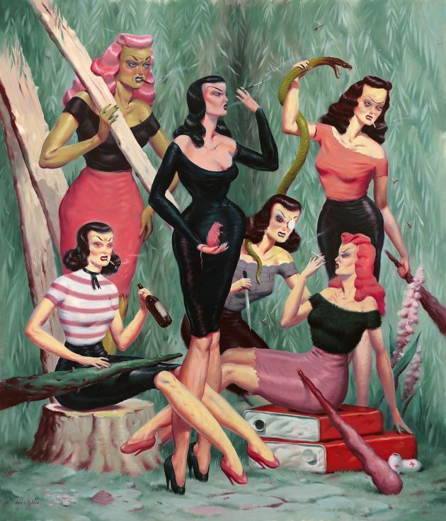 One of the 'Mean Girls Club' paintings (oil on canvas, 43 x 37 inches) © Ryan Heshka. All images courtesy of the artist and gallery.