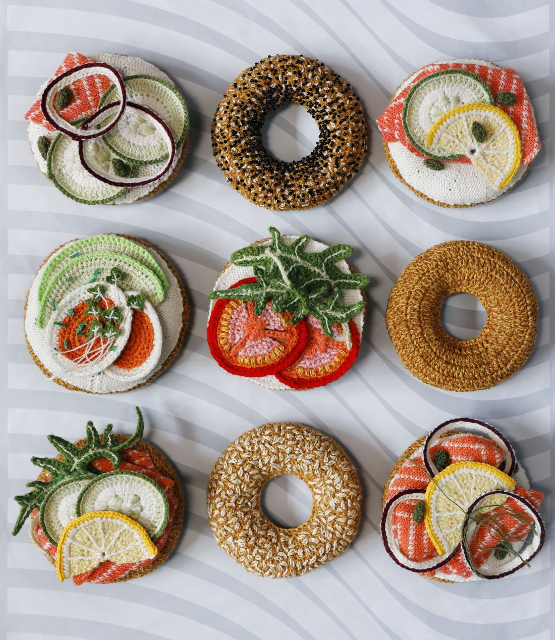 Brighton maker Kate Jenkins knits and crochets an entire bagel bar out of wool