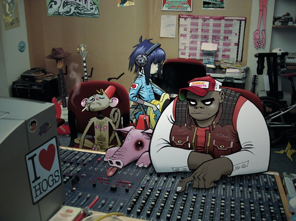 Gorillaz: Russel and Noodle at the old studio 13, 2005 Press image for Demon Dayz | © Jamie Hewlett