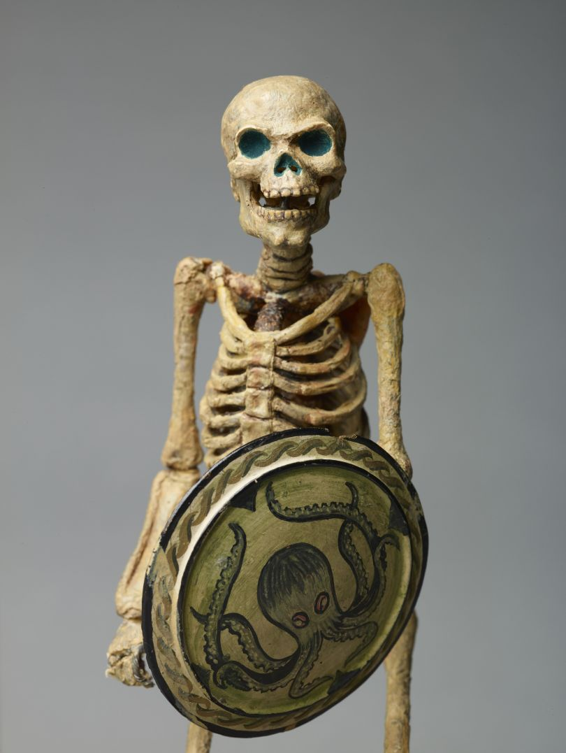 Original Skeleton model from Jason and the Argonauts, 1963; octopus shield by Ray Harryhausen (1920-2013), armature by Fred Harryhausen, c.1962 Collection: The Ray and Diana Harryhausen Foundation (Charity No. SC001419) © The Ray and Diana Harryhausen Foundation Photography: Sam Drake (National Galleries of Scotland)