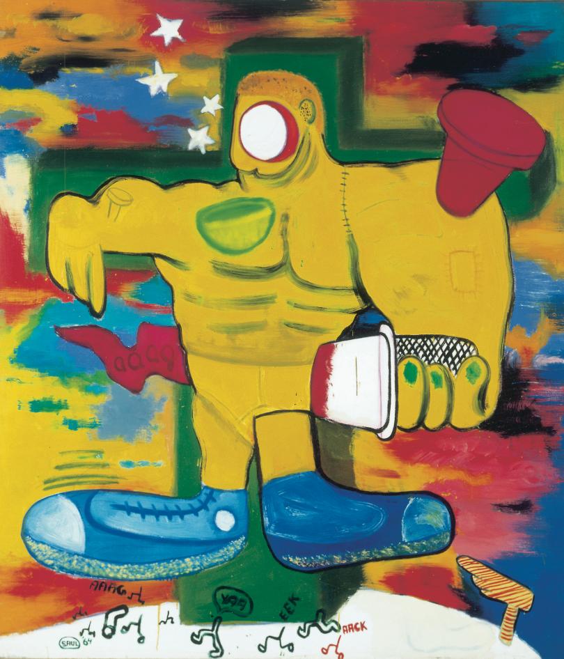 Peter Saul, Crucifixion, 1964, huile sur toile, 152,5 x 132,7 cm. Collection Musée des Beaux-Arts de Dôle © Peter Saul; photo: Musée des Beaux-Arts de Dole, cl. Jean-Loup Mathieu