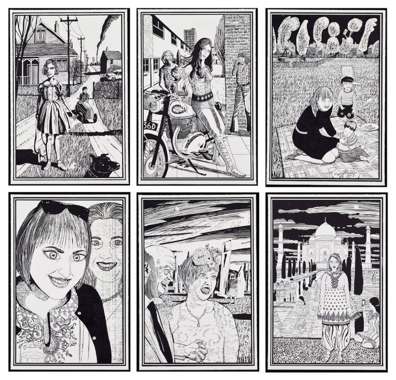 Grayson Perry, Six Snapshots of Julie, 2015, Six woodcuts, Each: 72.5 x 48.5 cm 28 1/2 x 19 1/8 in Published by Paragon © Grayson Perry. Courtesy the artist, Paragon | Contemporary Editions Ltd and Victoria Miro, London